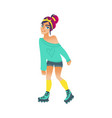 young woman roller skating isolated on white vector image vector image