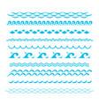 blue ocean waves sea wave silhouette signs vector image