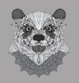 hand-drawn doodle bear portrait with carnival mask vector image