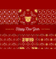 2019 new year pattern seamless golden pig swirls vector image