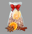 a christmas gift in form a transparent vector image