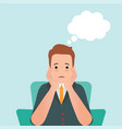 anxious man feeling sadness and thought balloon vector image vector image