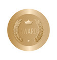 award gold round sign vector image vector image