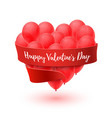 balloons in form heart with red ribbon isolated vector image vector image