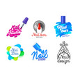 big set nail art studio icons or logo design vector image