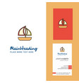 boat creative logo and business card vertical vector image