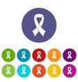 breast cancer awareness ribbon set icons vector image vector image