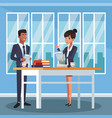 business coworkers at office vector image