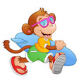 cartoon monkey with surfboard running vector image vector image