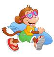 cartoon monkey with surfboard running vector image