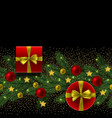 christmas and new year seamless border fir tree vector image