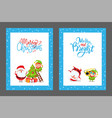 christmas congratulation cards with santa and elf vector image vector image