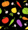 color outline seamless vegetable black pattern vector image vector image