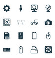 computer icons set with power supply photocamera vector image vector image