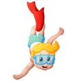 cute boy cartoon diving vector image vector image