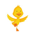 cute chick bacartoon yellow duck bird vector image