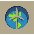 earth day wind mill green energy paper cut design vector image vector image