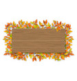 empty wooden sign with color autumn tree branch vector image vector image