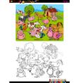 farm animals coloring page vector image vector image