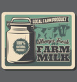 farm milk retro poster with cow and metal can vector image vector image