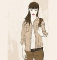 fashion girl on grunge background vector image vector image