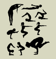 Female yoga silhouettes vector image vector image