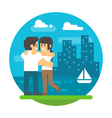 Flat design couple hugging near river vector image vector image