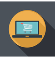 flat icon laptop with symbol shopping cart vector image