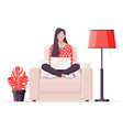 freelancer girl in armchair works at home vector image vector image