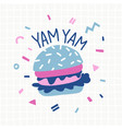 fun burger cartoon and doodle vector image