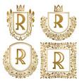 golden vintage monograms set heraldic logos r vector image