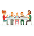 happy big family eating dinner together vector image