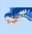 horizontal banner hello autumn with fox running vector image