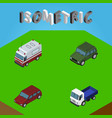 isometric automobile set of first-aid car lorry vector image vector image