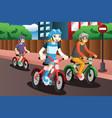kids riding bike vector image vector image