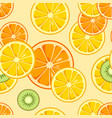 lemon orange kiwi slices seamless pattern vector image
