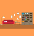 library room with sofa vector image