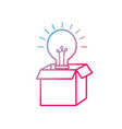 line open box with electric bulb light vector image vector image