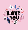 love you flat hand drawn poster vector image vector image
