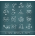 Meeting outline icons set vector image vector image