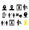 Missing people missing child icons set vector image