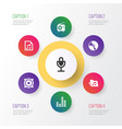 multimedia icons set collection of dossier mike vector image vector image
