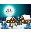 Night christmas forest landscape Santa Claus with vector image