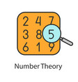 number theory color icon vector image vector image