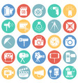 photography and videography icon set on color vector image