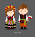poles in national dress with a flag vector image vector image