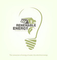 renewable energy of hydroelectric power in bulb vector image vector image