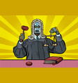 robot judge in robes and wig vector image vector image