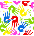 Seamless pattern with color hands vector image