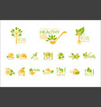 set of healthy food and drinks logos natural vector image vector image